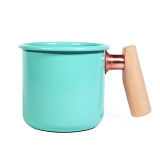 Wooden Handle Cup 400ml (Lake Blue)