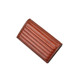 PIPILALA Leather Design three-dimensional leather business card holder - classic horizontal stripes (coffee brown)