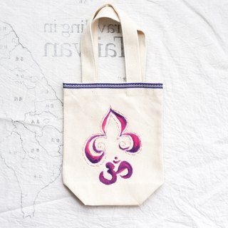 Yoga hand-painted embroidery green beverage bag