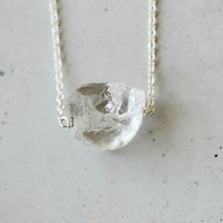Air white crystal ore Crystal stone 925 sterling silver necklace transparent