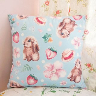 Sakura Series / Standard Size / Sakura Bunny Rabbit cherry strawberry pillow