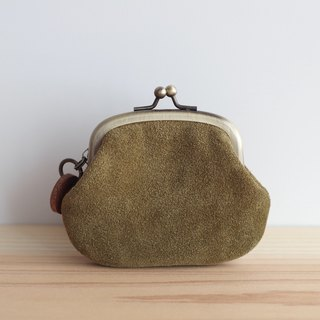 Suede leather coin case coin olive