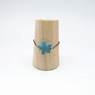Blue Star Lava Diffuser Bracelet Black Gold plated Copper Chain Extend Chain