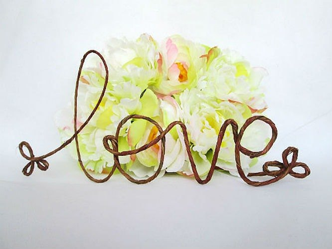 Rustic Love Cake Topper Rustic Wedding Cake Topper Shabby Chic
