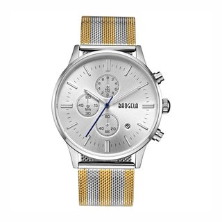 BAOGELA - STELVIO series silver dial / gold and silver Milan strap adjustable watch