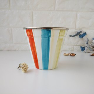 Colorful striped painted 珐琅 sundae cup | snack bowl