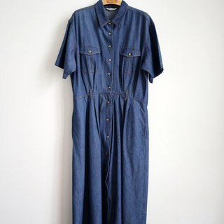 Pumpkin Vintage. Ancient denim buttoned dress