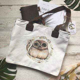 Owl two ways to ware tote bag