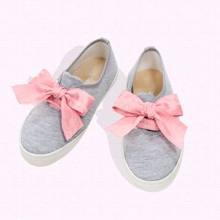 Lace casual shoes - gray pink