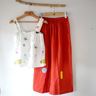 Sweet Red Watermelon Puppy / Dot Raindrops Linen Pocket Soft Wide Pants
