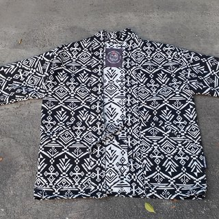 AMIN'S SHINY WORLD handmade KIMONO black and white jacquard full version blouse coat