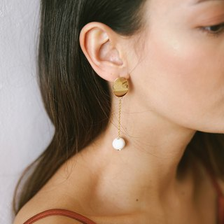 Marble Pattern Concrete Bubble Round Drop Earrings