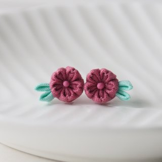 Red-Violet Cherry Blossom Sakura stud Earrings Clip-on 14KGF, S925 custom