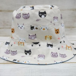 Beige cat & cowboy blue double fisherman hat sun hat