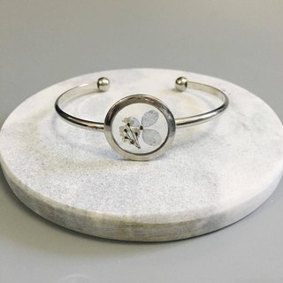 Silver pressed flower bangle