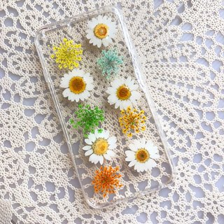 iPhone 7 Dry Pressed Flowers Case White Daisy Flower 015
