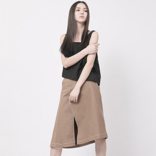Dislocation patch skirt Beige Denim Asymmetric Skirt
