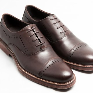 [LMdH] E1A23-89 hand-colored calfskin leather cushion outsole Capeton carved oxford shoes leather shoes men's shoes - brown - Free Shipping