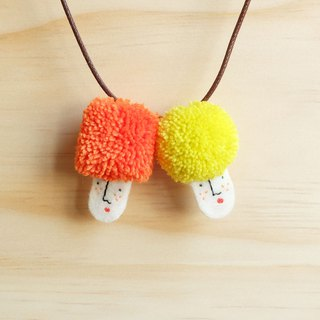 Miss Hairy Collection / Pom Pom Necklace / Orange and yellow