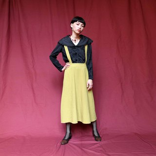 Pumpkin Vintage. Ancient mustard green cotton suspender dress