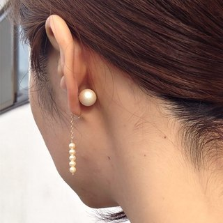 2way 14kgf vintage glass pearl × pearl catch ear clip 耳夾