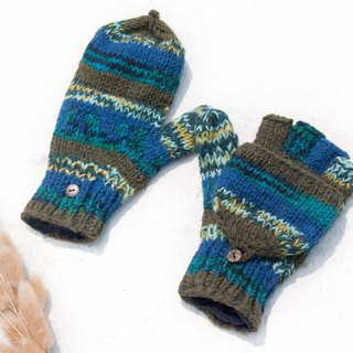 Hand-knitted pure wool knit gloves / detachable gloves / inner bristled gloves / warm gloves - blue sky green forest