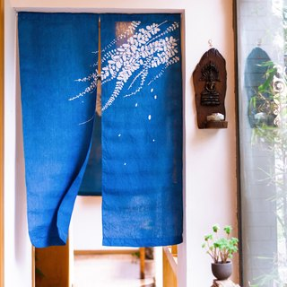 Spring-looking curtains handmade grass dyed blue dyed indigo-dyed original design linen Chinese-style Japanese partition curtain
