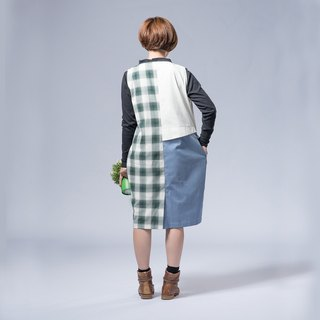 "Not the same as ""asymmetrical fake two pieces of green checkered dress"