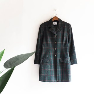 Kawaguchi - Hokkaido dark green plaid winter girls big pad Shoulder Sheep antique fur coat wool fur vintage wool vintage overcoat