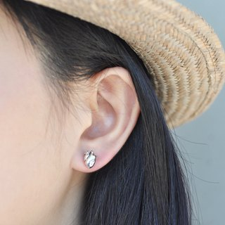 二毛银【大器系列- Three-dimensional heart small earrings】