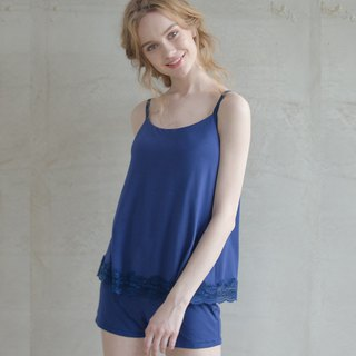 No steel ring pajamas [exclusive 2in1] no elf fairy face lace cotton soft two-piece home service - blue