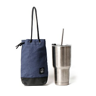 Point bag [icleaXbag] beverage bag simple drink accompanying bag can be lettering blue
