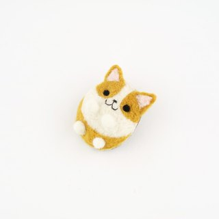 Animal's Party – corgi dog wool felting brooch