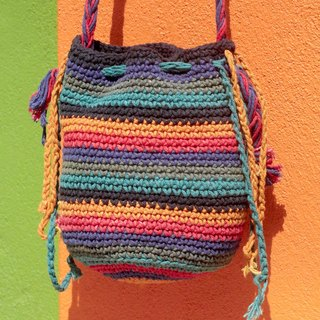 Tanabata gift limited handmade natural cotton crochet tassel oblique backpack / backpack / side bag / shoulder bag / boho travel bag - colorful forest rainbow stripes