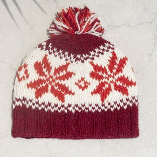 Christmas market limited amount of a hand-woven pure wool hat / knitted hat / within the bristles hand knit hair hat / wool cap (made in nepal) - warm color Nordic snowflake national totem
