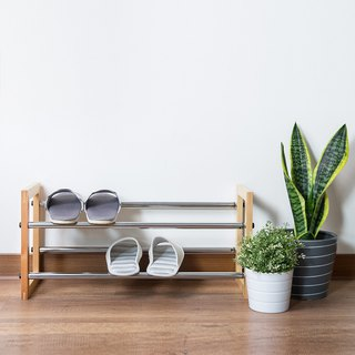 LIGFE 2-Tier Natural Free Stand Shoe Rack