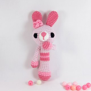 Pink Bunny - baby rattle - Inspired Toys