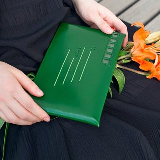 Love Letter green lettering customized distance relationship pure handmade leather envelope bag clutch single buckle first layer of leather wallet from afar | ancient leather good original design creativity