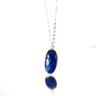 14KGF/ OVAL SAPPHIRE CRESCENT MOON LONG NECKLACE