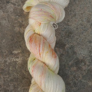 Hand dyed lace thread. Fruit Tea (55 BFL/45 Silk)