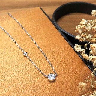 Satellite Star Track Diamond Clavicle 18-inch Silver Necklace (White K Gold)