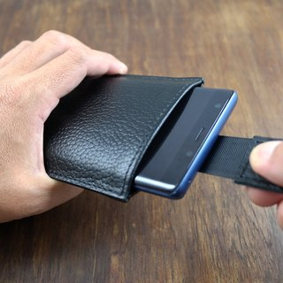 APEE leather handmade ~ mobile phone holster ~ pull with soft bag ~ lychee black ~ (Samsung Note8)