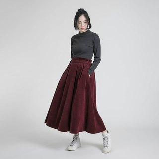 Joy Happy Pleated Skirt _8AF233_ Corduroy Wine Red