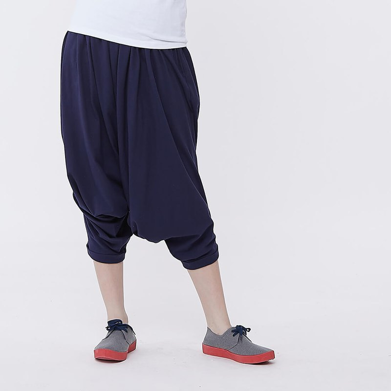 Tommy Wide Waistband  Capri Pants Navy