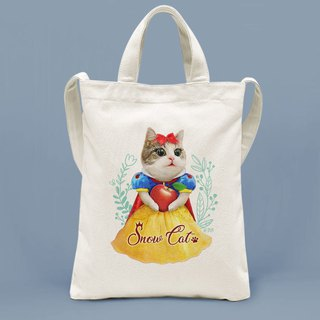 Cat princess shoulder portable two-use canvas bag