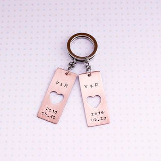Minimalist heart-to-heart red copper key ring (a pair) Customized hand knock letters lover gift
