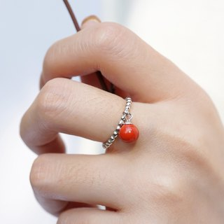Cinnabar open ring is not original s925 sterling silver red transfer natural ore this year is too old