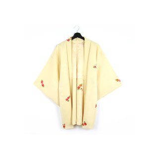 Back to Green-Japan brought back feather weaving light goose yellow fruit / vintage kimono