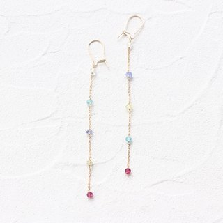 14 kgf - multicolored garden pierced earrings (can change to clip - on)