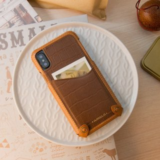 iPhone X / Xs Hybrid Mini Leather Case - Brown